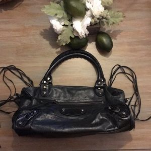 Balenciaga Paris black leather purse mini city bag